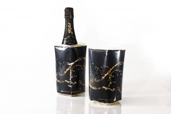 """Flaschenkühler PREMIUM mit Boden """"Black and Gold"""""""
